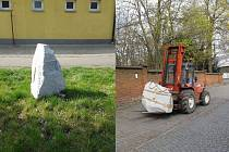 Umisťování kamenů v Holýšově.