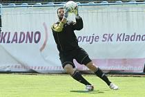 Ladislav Čaba začínal s fotbalem v Kvíčovicích na Domažlicku, nyní v dresu pražského Loko Vltavín sahá po postupu do druhé ligy. Snímek je z utkání s Kladnem.