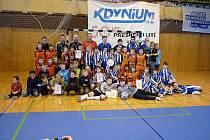 TURNAJ O POHÁR STAROSTY DOMAŽLIC. Společný snímek šesti družstev, která se ve sportovní hale v Domažlicích zúčastnila turnaje starších přípravek pořádaného Jiskrou Domažlice.