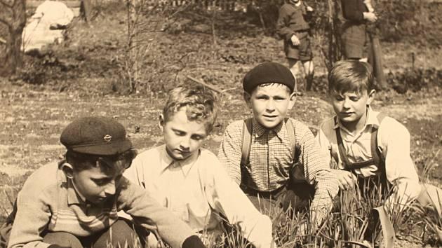 Děvčata z osmileté školy v Poběžovicích při třídění sazenic. Pěstitelský kroužek, rok 1957.