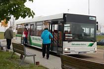 Místní autobusová linka v Domažlicích.