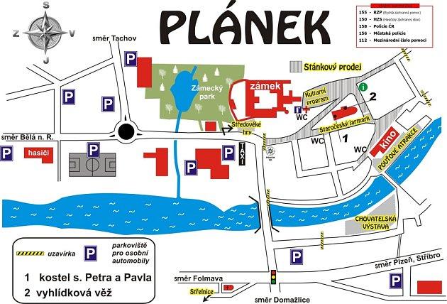 Plánek stanovišť, uzavírek a parkovacích míst oanenské pouti.