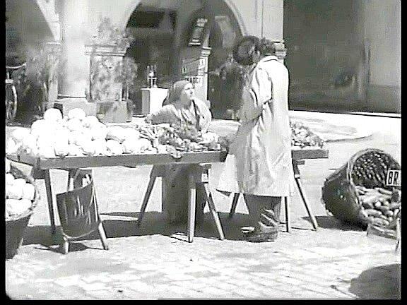 V6. minutě filmu Novák parkuje na náměstí ustánku se zeleninou.