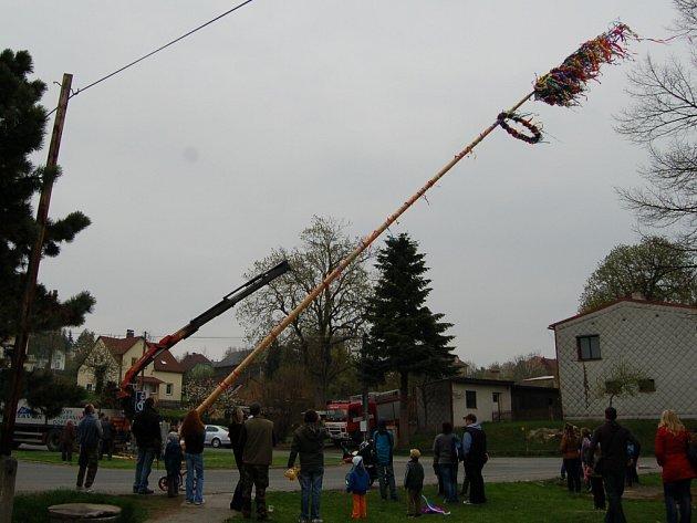 Stavění májky v Bělé nad Radbuzou.