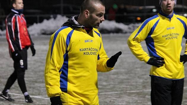 Tomáš Došek, zimní posila Slavoje Koloveč, se v přípravném utkání s Jiskrou Domažlice na Střelnici uvedl gólem.