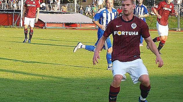 Na snímku z pohárového utkání Jiskra Domažlice - AC Sparta Praha Martin Juhar, střelec první branky v utkání rezervy Sparty s Jiskrou.