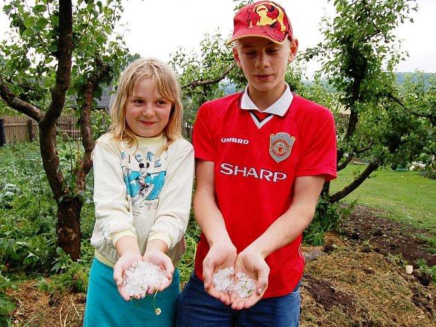 Miloslav a Kateřina Polákovi ukazují kroupy ze své zahrádky
