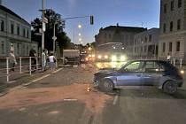 Dopravní nehoda v Domažlicích.