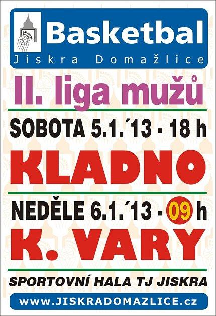 Pozvánka na víkendový dvojzápas basketbalistů Jiskry Domažlice.