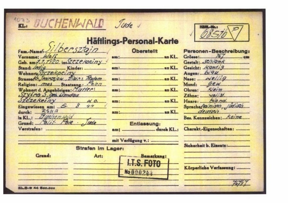 Registrační karta z koncentračního tábora Buchenwald, jímž Wolf Zylbersztajn také prošel.