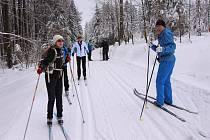 Sněhové podmínky pod Čerchovem lyžařům o víkendu přály.