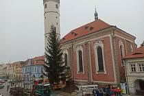 Vánoční smrk na náměstí v Domažlicích.