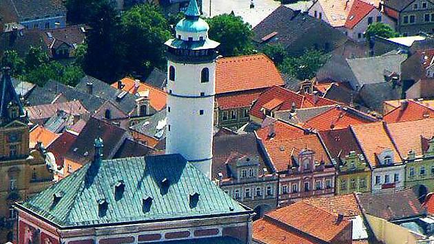 Domažlická věž arciděkanského kostela Narození Panny Marie.