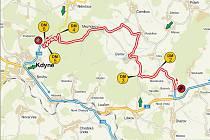 Mapka rychlostní zkoušky Bukov - Kdyně.
