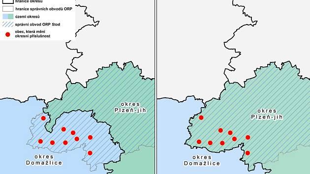 Jak vypadaly hranice okresu a jak budou vypadat od roku 2021.