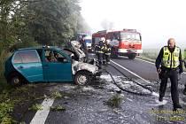 Nehoda s následným požárem u Domažlic