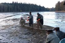 Z výlovu Černého rybníku. Výsledek domažlické lesáky překvapil, takovou ´úrodu´ ryb po studeném jaru neočekávali.