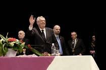 Prezident Miloš Zeman na besedě v Domažlicích.