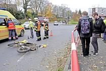 Nehoda v Mánesově ulici v Domažlicích.