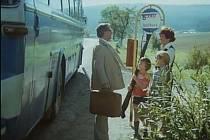 Málek (V. Brodský) v 24. minutě vystupuje z autobusu, který ho vezl na dovolenou, a vítá se s rodinou. Scéna se natáčela na silnici mezi Postřekovem a Díly, jen kousek od začátku Postřekova.