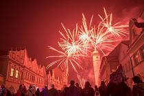 Novoroční ohňostroj v Domažlicích.