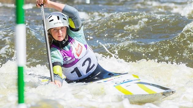 Horšovskotýnská slalomářka Saša Vrbová na trati v Troji.