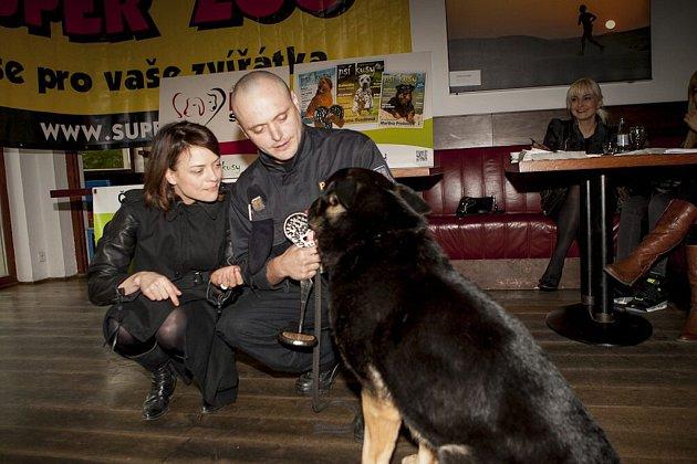 Německý ovčák Romer se svým psovodem Františkem Kohoutem a herečkou Janou Strykovou při vyhlášení ankety.