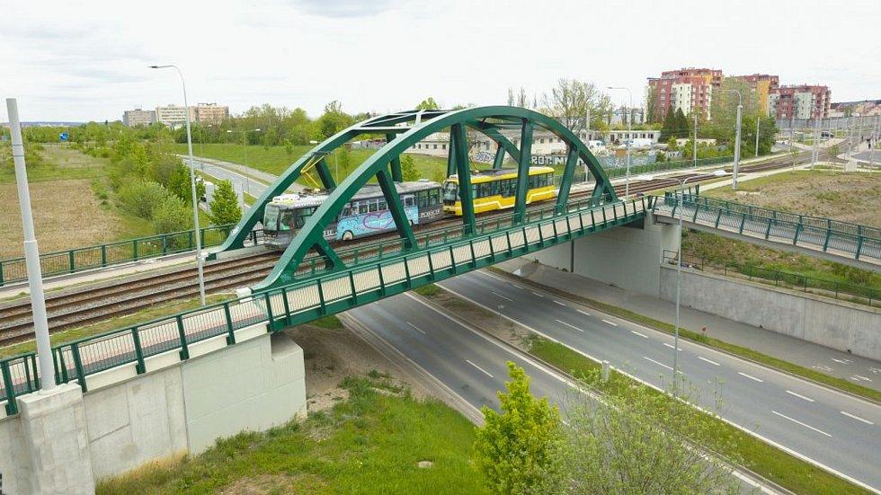 Tramvajová trať na Borská pole v Plzni.