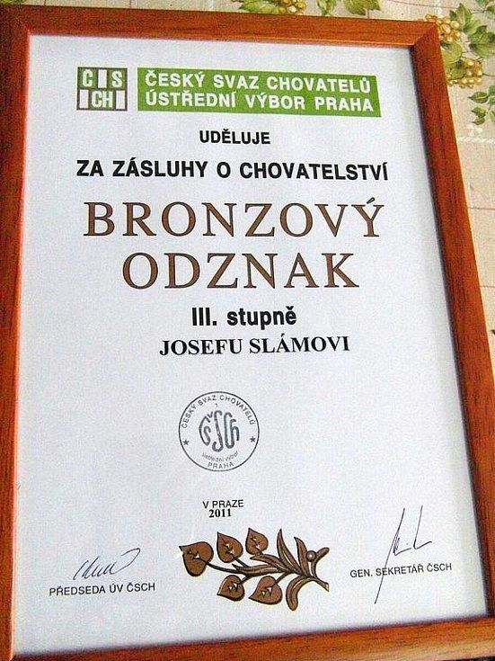 Ocenění pro Josefa Slámu in memoriam.
