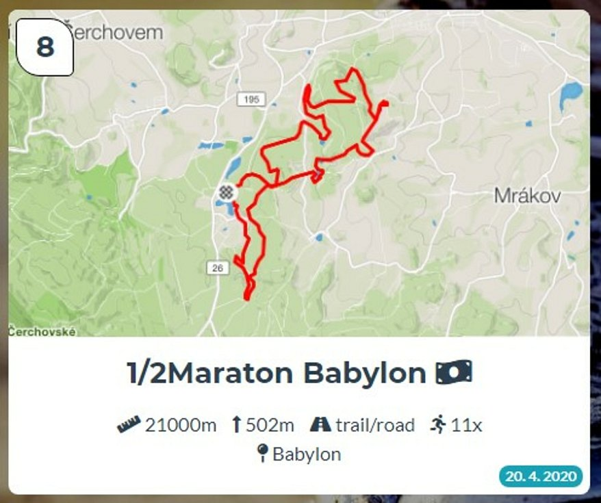 Běžci Chodska sobě: Trasa 8 - Půlmaraton Babylon.