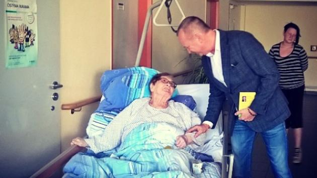 Karel Voříšek v Domažlické nemocnici.