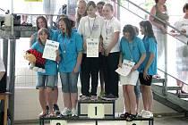 Domažlické plavkyně vyhrály štafetový závod na 4 x 50 m kraul.