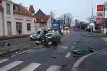 Nehoda v Husově ulici v Domažlicích.