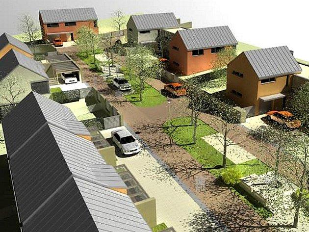 Vizualizace nové rezidenční čtvrti v lokalitě východně od sídliště Na Stráni v Holýšově znázorňuje i veřejnou zeleň a parkovací místa.