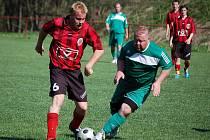 Fotbalista 1. FC H. Týn Petr Vachtl v utkání proti Baníku Kamenný Újezd.