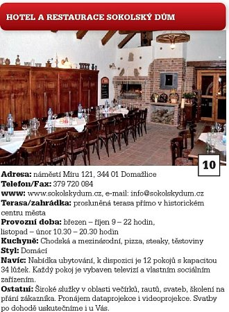 10.Hotel a restaurace Sokolský dům.