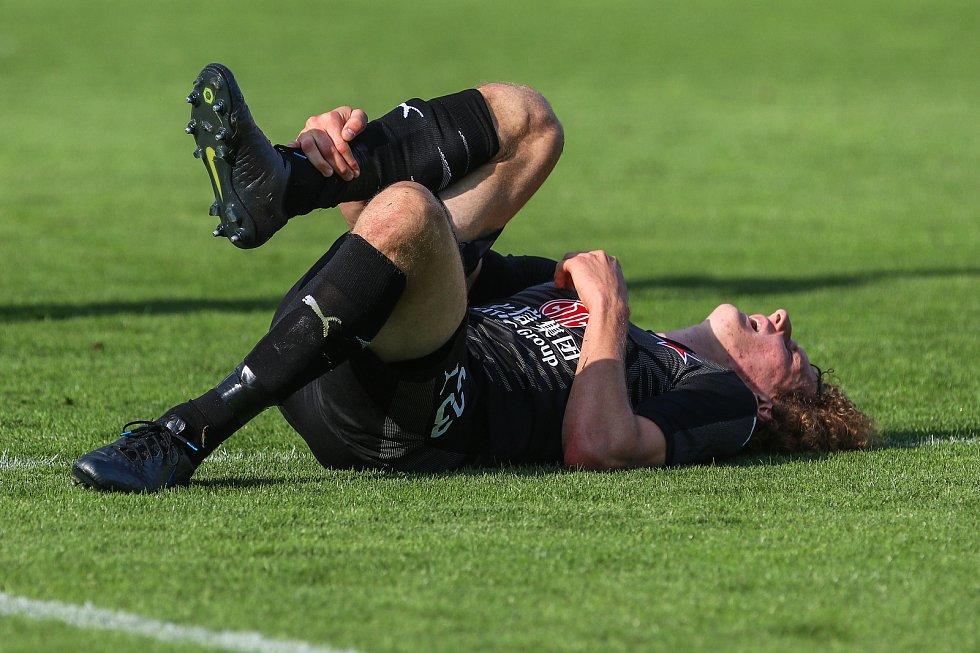 Utkaní 4. kola fotbalové FORTUNA:LIGY: MFK Karviná - SK Slavia Praha, 4. srpna 2019 v Karviné. Na snímku Alex Král.