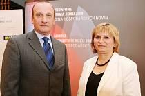 Živnostník roku 2008 Helena Konopíková a jednatel Firmy roku 2008 Plzeňského kraje 2008 - První chodské společnosti Vladimír Zábranský.