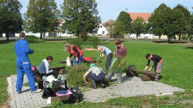 Žáci-zahradníci pravidelně upravují park na návsi v Semněvicích.