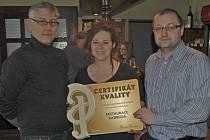 Z předání certifikátu v restauraci Radbuza Bělá nad Radbuzou.