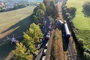 Letecký snímek, jak vypadalo nádraží v době nehody.