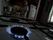 Měřič tlaku na plynovodu z Ukrajiny v maďarské přečerpávací stanici Vecses.