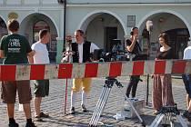 Česká televize natáčela v centru Domažlic spot k Chodským slavnostem.