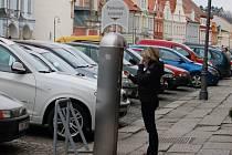 Parkovací automat na domažlickém náměstí.