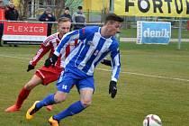 Matěj Končal zásoboval v Brozanech svoje spoluhráče přesnými centry, ale k rozhodujícímu gólu to nevedlo.