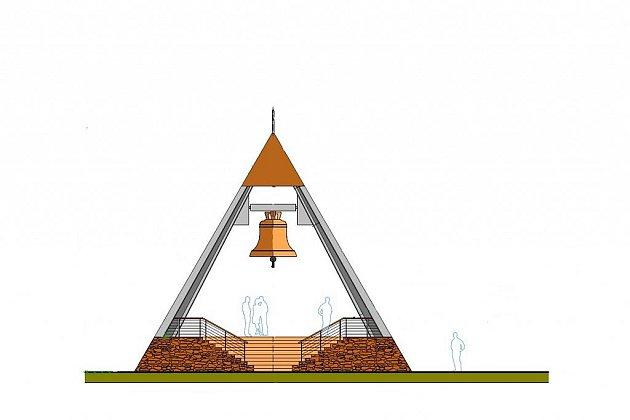 Studie zvonice, která by mohla stát na Vavřinci u Domažlic.
