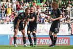 Utkaní 4. kola fotbalové FORTUNA:LIGY: MFK Karviná - SK Slavia Praha, 4. srpna 2019 v Karviné. Na snímku (zleva) Tomáš Souček, Vladimír Coufal, Alex Král.