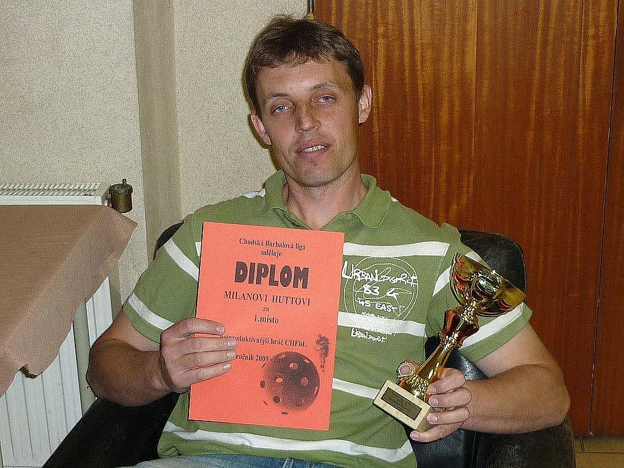 Nejproduktivnější hráč Chodské florbalové ligy 2009/10 Milan Hutta z FC Kout na Šumavě.