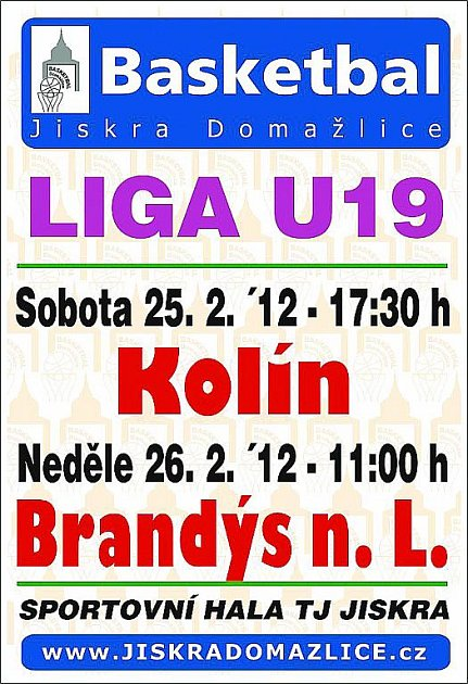 Pozvánka na víkendová utkání mladých basketbalistů Jikry Domažlice.