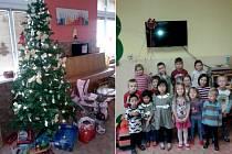 Kromě dárečků pod stromkem čekal na předškoláky z červené třídy MŠ v Poděbradově ulici v Domažlicích další na stěně - nová televize.